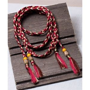 Multi Color Braided Tassel Belt
