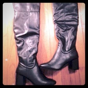 Charlotte Russe Shoes - Charlotte Russe black faux leather knee high boots