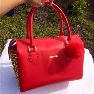 IMAN Handbags - IMAN Purse in Red With Gold Studs on Each Side