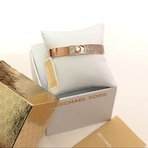 Michael Kors Jewelry - MICHAEL KORS Astor Rose Gold Pavé Bangle Bracelet