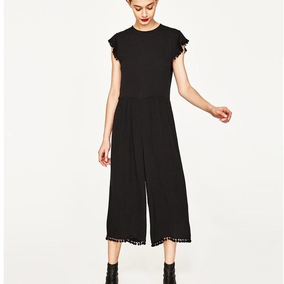 49f35208771 NWT Zara cropped Pom Pom jumpsuit