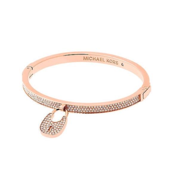 40 off Michael Kors Jewelry Pav Rose Gold Lock Bangle Bracelet