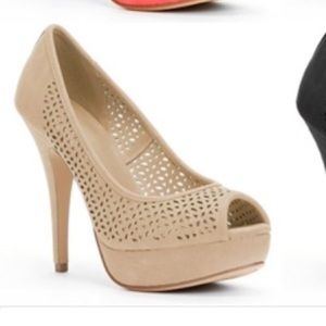 Apt.9 Kennedy Cream/Beige Laser-Cut Peep-toe Pumps