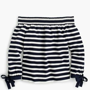 J. Crew Striped Off The Shoulder Striped Top