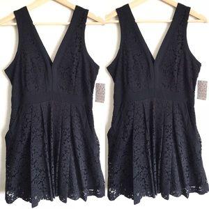 Free People Black Floral Lace Mini Dress