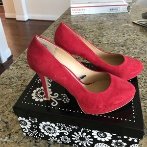 Red faux suede heels-perfect pumps