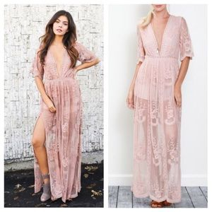 Honey Punch Dresses & Skirts - 🆕PREORDER Blush Embroidered Lace Maxi Dress