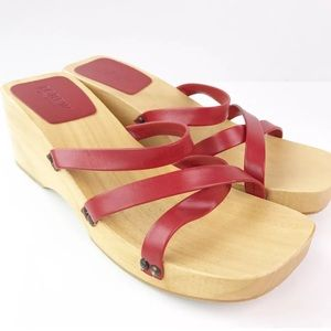 J. Crew Shoes - J. Crew Red Strappy Sandals Wooden Chunky Platform