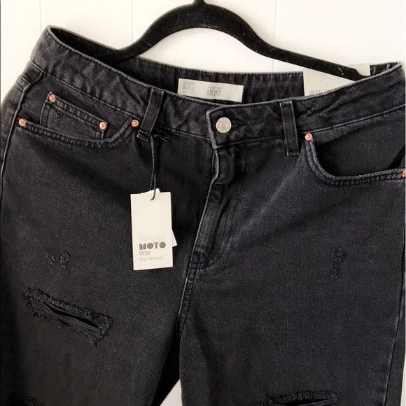 1deda55ac53 Topshop Jeans | Moto Washed Black Super Rip Mom | Poshmark