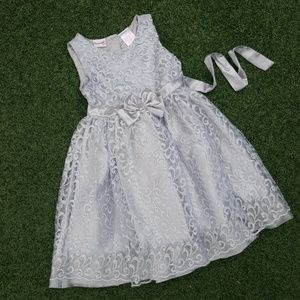 Nannette Other - Girl's Silver tulle and lace party dress