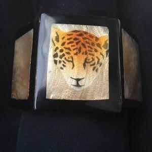 Jewelry - Black Chunky Stretch Bracelet Leopard/Gold accent