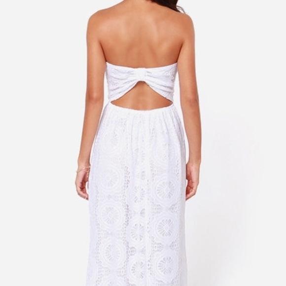 Cheap Wedding Dresses Lulu: Lulu's Strapless White Lace Maxi Dress From
