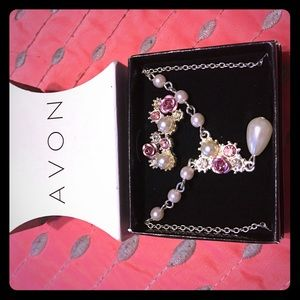 Avon Jewelry - Avon necklace with pearl and lavender roses NIB