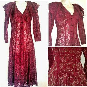 Vintage Dresses & Skirts - 🌼Vintage Maroon Lace Overdress - NWOT