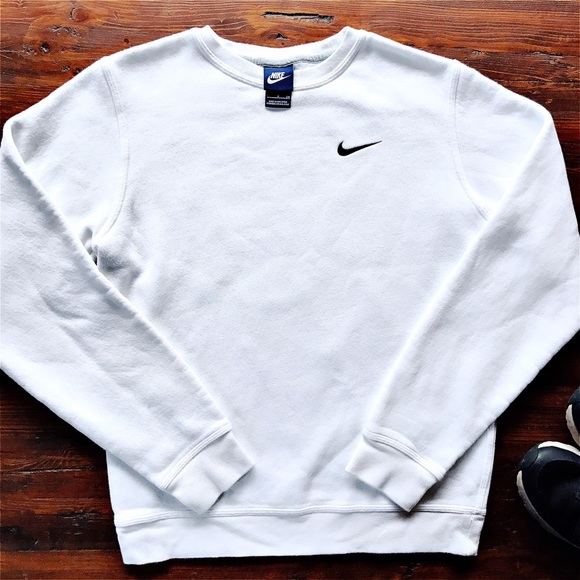 White Nike Crewneck Sweatshirt with Chest Logo