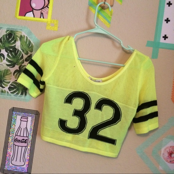 c3b5539ee848f ASOS Tops - Neon 🎾 yellow mesh sweater jersey sport crop top