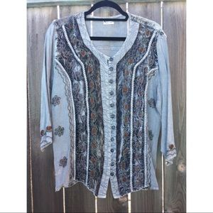 VTG GRAY EMBROIDERED BOHEMIEN TOP BUTTON UP SZ L