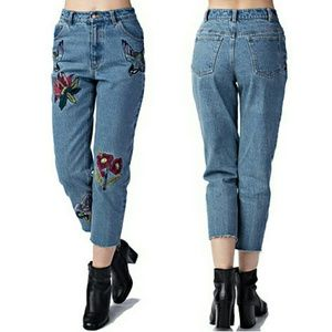 Honey Punch Denim - Embroidered Birds Raw Edge Cropped Mom Jeans