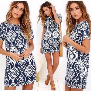 Lucy Love Dresses & Skirts - Lulus Lucy love shift blue and white dress