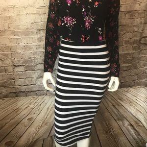 Express Striped Stretch Knit Pencil Skirt