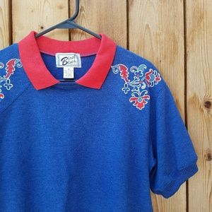 Vintage Tops - Vintage Embroidered Collared Sweatshirt Top