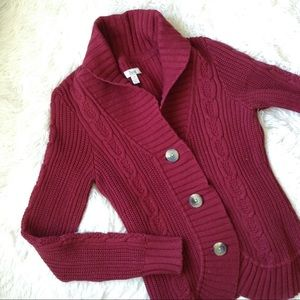 BASS red long sleeve button down cableknit sweater