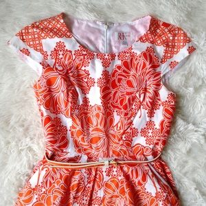 R&K red+white floral cap sleeve dress with belt