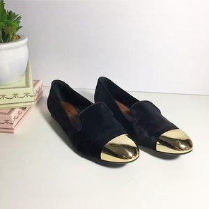 SCHUTZ Shoes - Schutz Gold Cap Toe Ballet Flats Black Calf Hair
