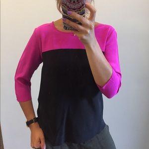 Amanda Uprichard Silk Colorblock Blouse