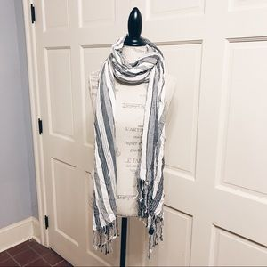 other Accessories - Grey & white striped scarf