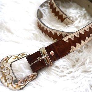 Charley Stone Accessories - Vintage Brown & White Belt