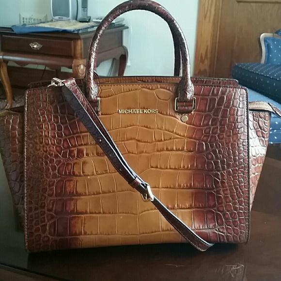 michael kors large selma tote bag in brown