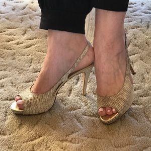 kate spade Shoes - EUC Kate Spade NY Cream and metallic sheen Heels