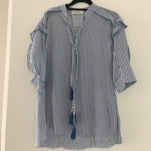 chicwish Tops - Navy blue striped shirt