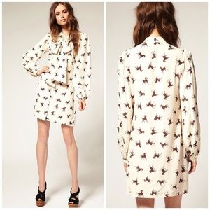 ASOS Pussybow Shirt Dress in Galloping Horse Print
