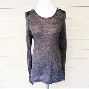Studio Y Sweaters - Studio Y Metallic Sequin Shoulder Sweater