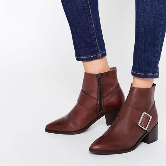 7021cd9110e ASOS RALLY Leather Buckle Ankle Boots NWT