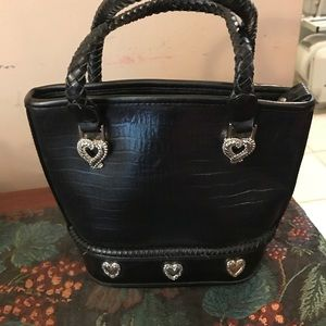 Handbags - Black purse with silver hearts and braided handle
