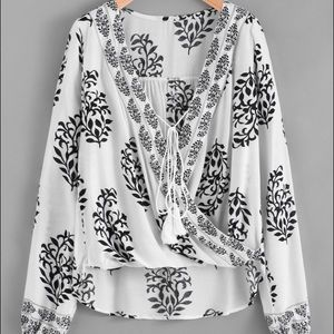 Shein Tops - Last Reduction!! Damask Print Tie Front Wrap Top