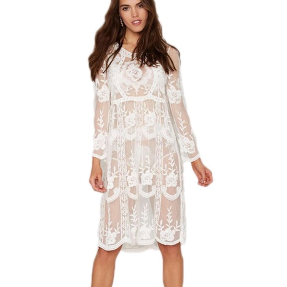 d3eacfb6e1 Swim | Lace Beach Sheer Bikini Suit Coverup Dress Nwt | Poshmark