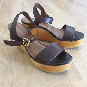 Banana Republic Shoes - Brown Leather Ankle Strap Wooden Platform Heels