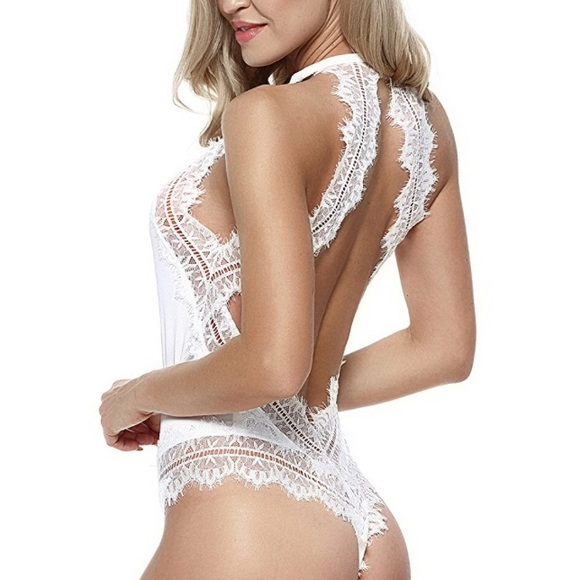7f391877255 Sexy White Lace Open Back Teddy Lingerie. M 59274d427fab3a2433013703