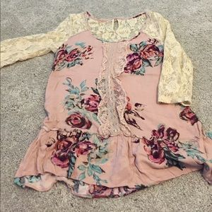 American Rag Tops - Adorable pink floral lace shirt