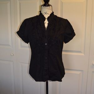 Maurice's Black Bottom Down Blouse Size Large