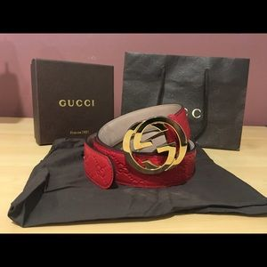 Gucci Other - Authentic Men Gucci Belt Red Guccisima