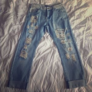 Forever 21 Denim - Distressed medium washed boyfriend jeans