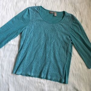 Chico's Tops - Chico's Blue Eyelet Lace 3/4 Sleeve atop