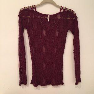 Free People maroon lace long sleeve