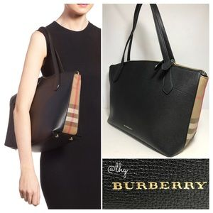 BURBERRY WELBURN CHECK LEATHER TOTE BAG