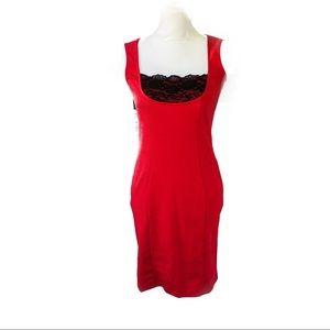 VENUS Dresses & Skirts - Venus Red Sleeveless Dress Lace Inset Neck Size 2